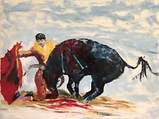 Animal Bull Painting Corrida Painting Abstract Oil Painting on Canvas Bullfight