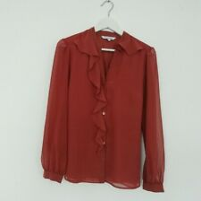 Debenhams Collection Ruffle Blouse Top Shirt 12. Russet Red Tan. Long Sleeved