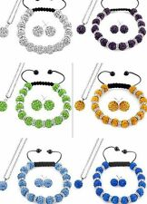 8set/lot 10mm free shipping mix crystal shamballa bracelet necklace earring set