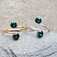 Midi Ring with Green Swarovski crystals Sterling Silver 14K Gold Filled Wire Toe