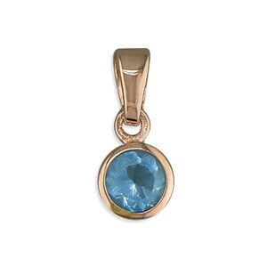 "Blue Topaz Pendant Rose Gold Sterling Silver 925 Hallmark 18"" Chain"