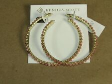 Kendra Scott Birdie Pink RHODONITE 14k Gold Plated Brass Hoop Blush Earrings
