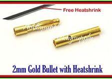 2.0mm Gold Bullet Connector Plug ( Free Heat shrink 2mm BLACK color x 1) 10 PAIR