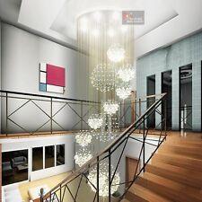 Large Long 220cm Villa Chandelier K9 Crystal Light Ceiling Living Stair Lighting