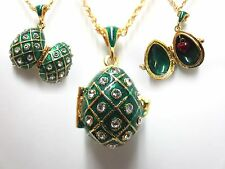 """Green Traditional Easter Egg Pendant W/ 18"""" Chain heart inside faberge inspired"""