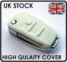 Audi Blanco caso clave fob cubren 3 botón A3 S3 A4 S4 A5 A6 Tt Q5 Q7 Silicona 58w