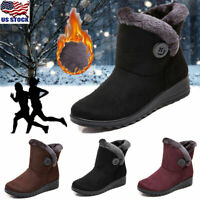 Womens Warm Fur Lined Ankle Boots Winter Casual Flat Ski Snow Booties Shoes Size