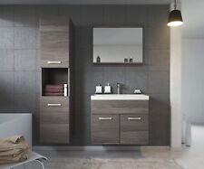 Modern Wall Mounted Bathroom Set Vanity Unit Storage Cabinet Sink Mirror Grey