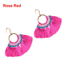 1pc Fan Shapebohotassel Hook Drop Dangle EarringsFashion Vintage Ethnic Jewelry Rose Red