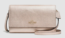 Purse COACH Metallic Leather Phone Case Wallet Cross-body NWT $135 Platinum Gold