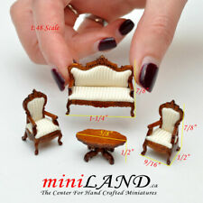 1:48 Scale Victorian living room set, 4pcs WN Sofa, 2 chairs Top Quality 1/48 WH