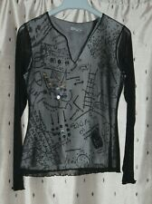 Per Una ~ Ladies Lined Black Sheer Top With Stretch ~ Boho / Festival ~ Size 12