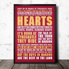 Corazón de Midlothian fútbol letras de canciones canto cartel FC Corazones