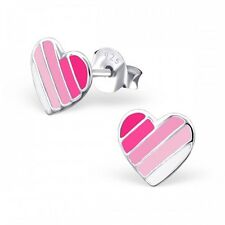 Childrens Girls Sterling Silver Pink Striped Heart Stud Earrings - Gift Boxed