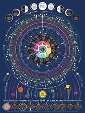 2018 Spiral Spectrum Cosmic Calendar - Astrology / Astronomy - Wall Chart Poster