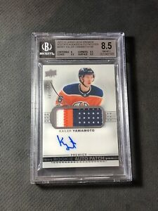 2017-18 UPPER DECK PREMIER KAILER YAMAMOTO ROOKIE AUTO PATCH #ed /199 BGS 8.5/10
