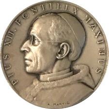 VATICAN - MÉDAILLE EN ARGENT 925 ‰ - PIE XII - 1958 - OPUS IUSTITIAE PAX - RARE