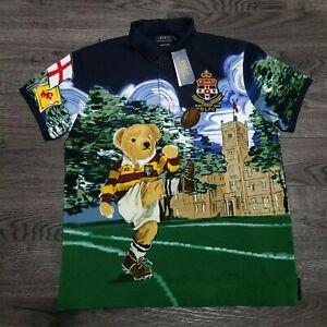 Polo Ralph Lauren Rugby Bear Polo Shirt Mens XL Custom Slim fit All over Print
