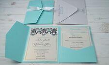 Pocket fold Wedding Invitation Set, Customized and Full Printing Inc, Tiffany