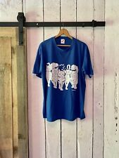 Vintage 90s Blue White Cat Front and Back Puff Print T Shirt by Jerzees size XL
