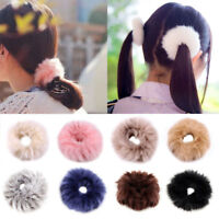 Fashion Women Fluffy Faux Rabbit Fur Furry Scrunchie Elastic Hair Ring Rope Band