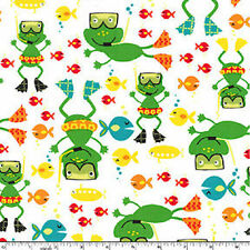 FQ -  SCUBA DOO - WHITE -  MICHAEL MILLER COTTON FABRIC FROG FISH BOYS NOVELTY