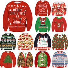 Xmas Christmas Print Women Sweater Jumper Casual Santa Pullover Blouse Shirts