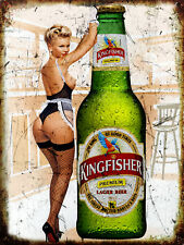 Kingfisher Pin Up Girl, Vintage Retro Metal Sign Plaque, Novelty Gift, Bar/ Pub