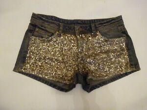 Benetton Denim Shorts - Dull Grungy Gold Sequins at Front - 29 inch waistband