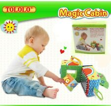 Infant Baby Toddler Kid Child Magic Cabin Rattles Crinkle Mirror Cube Block Toy