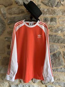 ADIDAS Mens T Shirt Long Sleeve Trefoil 3 Stripes Salmon White Cotton Size XL