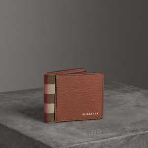 Authentic Burberry Grainy Leather And House Check Bifold Men's Wallet Brown