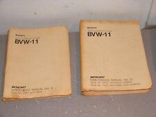 Sony BVW-11 Video Cassette Player Betacart Maintenance Manual Vol. 1 & 2     A01