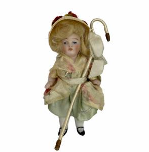 "Vintage Miniature Dollhouse Porcelain Shepherdess Doll with Crook 3"""