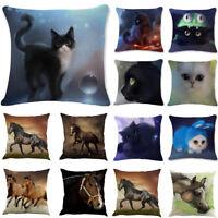 Black Cat Horse Throw Pillow Case Sofa Waist Cushion Cover Home Sofa Car Decor