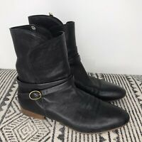 Chloe Womens Black Leather Buckle Block Heel Ankle Boots Size 38, 7.5-8 Pull On