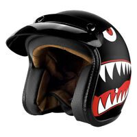 Open Face Motorcycle Helmet - 3/4 Helmet Matte Black Cruiser Helmet - DOT -