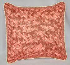 "Pillow made w Ralph Lauren Villa Camelia Red Orange Fretwork Fabric 16"" cording"