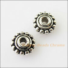 25Pcs Antiqued Silver Tone Tiny Flower Spacer Beads Charms 8mm