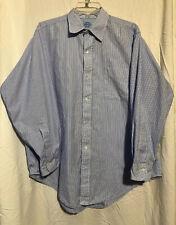 Mercer & Sons Men's Blue White Striped Lightweight Cotton Dress Shirt 16 1/2 33