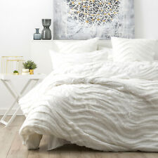 Wave 100% Cotton Chenille Vintage washed tufted Quilt cover Set King Bed White
