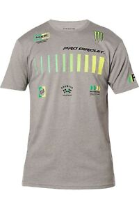 NEW FOX RACING MENS PRO CIRCUIT SS PREMIUM TEE, SIZE SMALL, GRAY, 26445-185-S