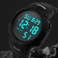SKMEI Mens Large Dail LED Light Shock Water Proof Date Sport Digital Wrist Watch