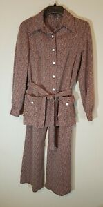 Retro Vintage 70s Women's Two Piece Polyester Suit Jacket Bellbottom Pants Sz 14
