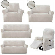 Stretch Chair Sofa Recliner Cover Couch Loose Slipcover Protector 1-4 Seat Beige