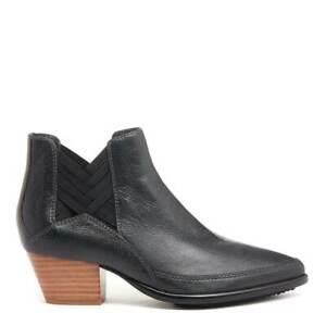 Kelsi Dagger Brooklyn Elsewhere Glossy Tumble Leather Ankle Boot (Size 7, Black)