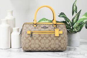 Coach (83607) Rowan Signature Leather Khaki Ochre Medium Satchel Handbag Purse