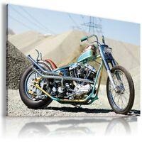 HARLEY DAVIDSON  MOTOR BIKE SILVER BLUE Large Wall Canvas Picture ART  HD28