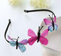 Women Girl Pink Butterfly Fairy Party Hair Head Band Headband Fascinator Hoop