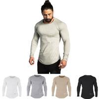 Men Muscle Long Sleeve T Shirt Cotton Gym Workout Wear Casual Fashion Sweatshirt